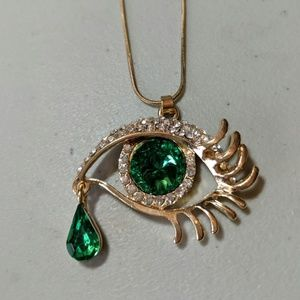 New Gold & Green Eye with Tear Drop Necklace